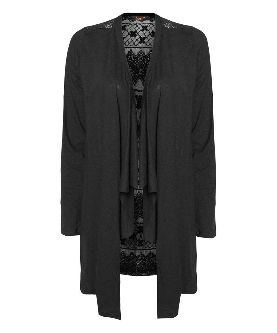 Look at this Devoted by Dex Black Lace-Back Open Cardigan - Plus ...