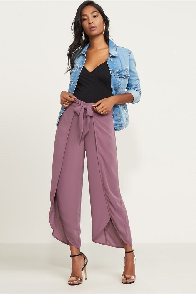 5b4488437df Hey fancy pants. Front Slit Pants With Sash