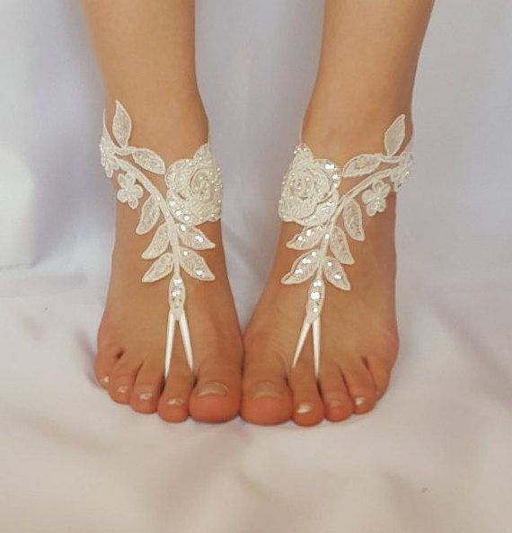 6aec59da9 ivory beaded scaly beach wedding barefoot sandals free ship sexy feet shoes  anklet bellydance steampunk beach pool barefeet country wedding