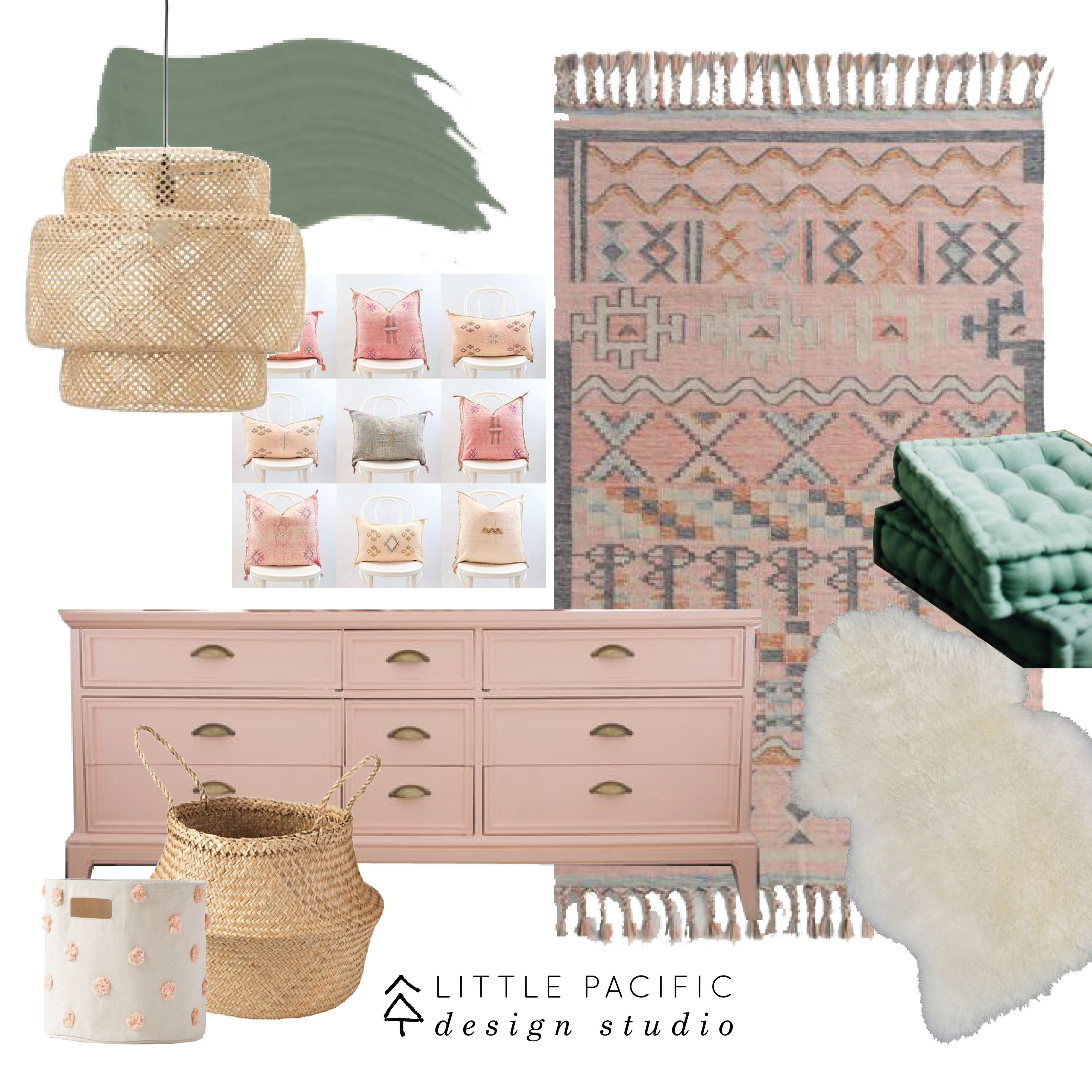 Blush Nursery With Neutral Textures: Modern Bohemian Nursery Mood Board With A Color Palette Of