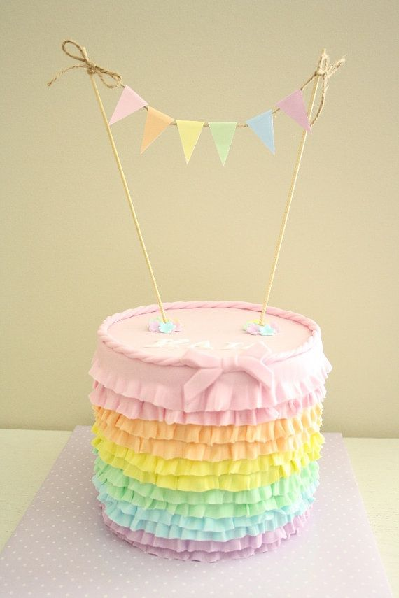 banner cake decoration PASTEL OR BRIGHT Enamel style Rainbow Name and age cake topper