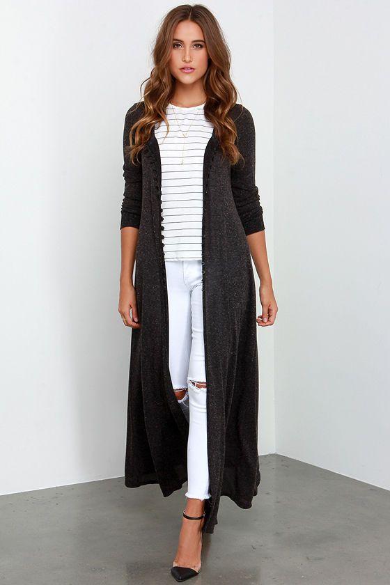 Amazing Graze Long Heather Black Sweater | Heather black, Winter ...
