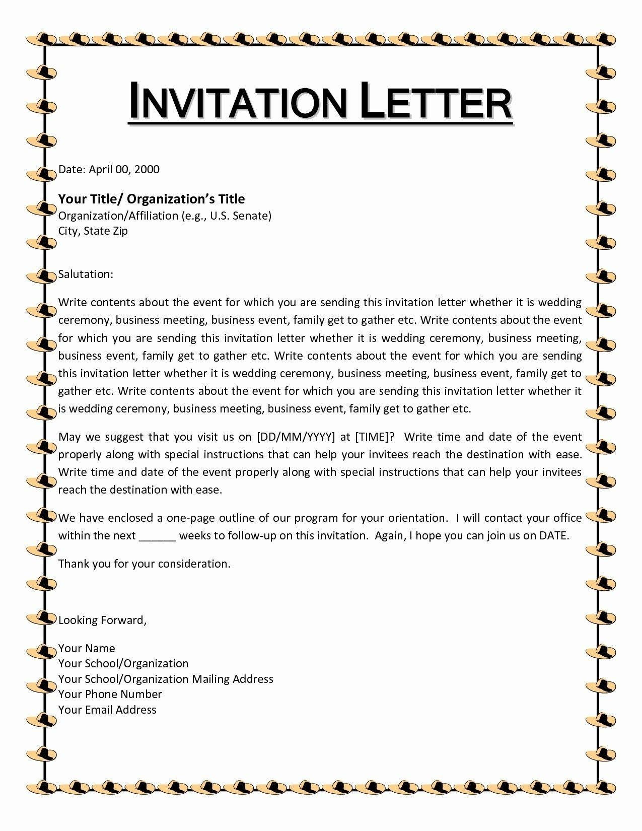 9 Format Of Invitation Letter Musicre Sumed