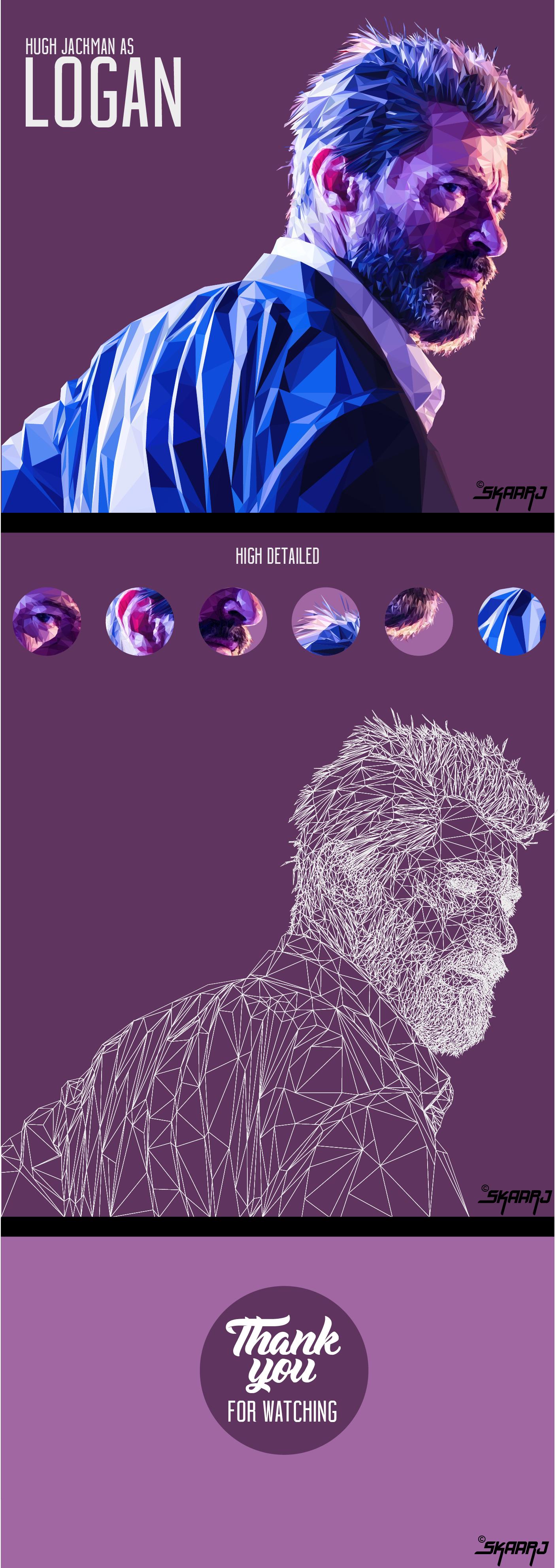 "Check out this @Behance project: ""LOGAN / Hugh Jackman - Low poly digital portrait"" https://www.behance.net/gallery/50344855/LOGAN-Hugh-Jackman-Low-poly-digital-portrait"