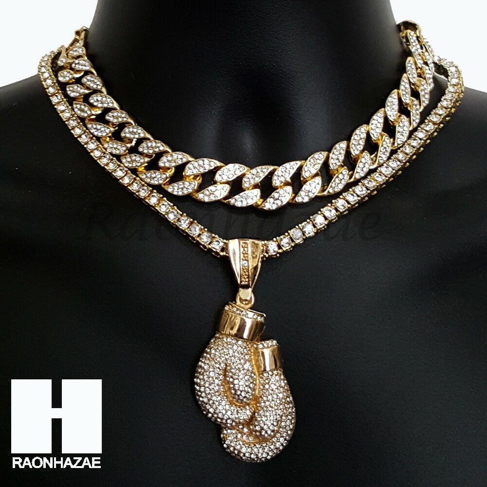 White Gold-Tone Iced Out Hip Hop Bling Boxing Glove Pendant with Princess Cut Cubic Zirconia 20 Tennis Chain and 24 Rope Chain