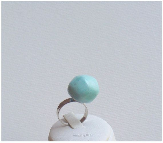 Cocktail Ring Ceramic Ring Adjustable Ring Mint by AmazingPink, $7.90