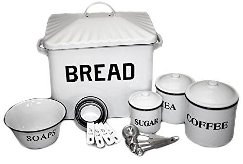 Deluxe White Enamel Metal Kitchen Set W Bread Box Coffe Https