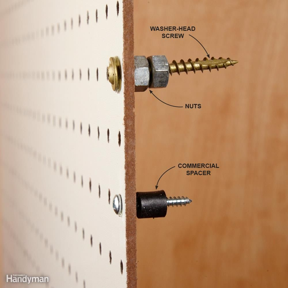 organize anything with pegboard 11 ideas and tips washers metals and built ins. Black Bedroom Furniture Sets. Home Design Ideas