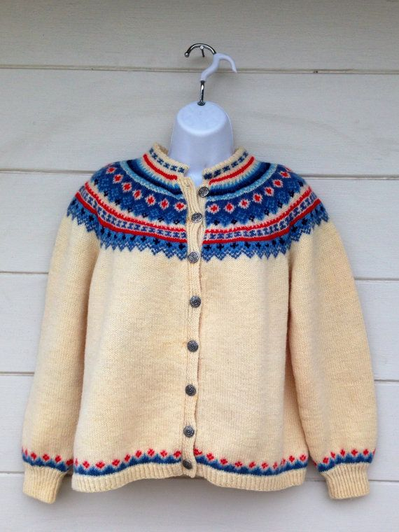 Photo of Rare Hand Knit Norway wool cardigan genser NORSK HUSFLID