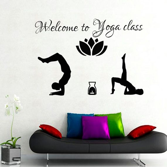 Wall Decals Yoga Quote Welcome To Class Gymnast Lotus Vinyl Sticker Decal Gym Decor Home