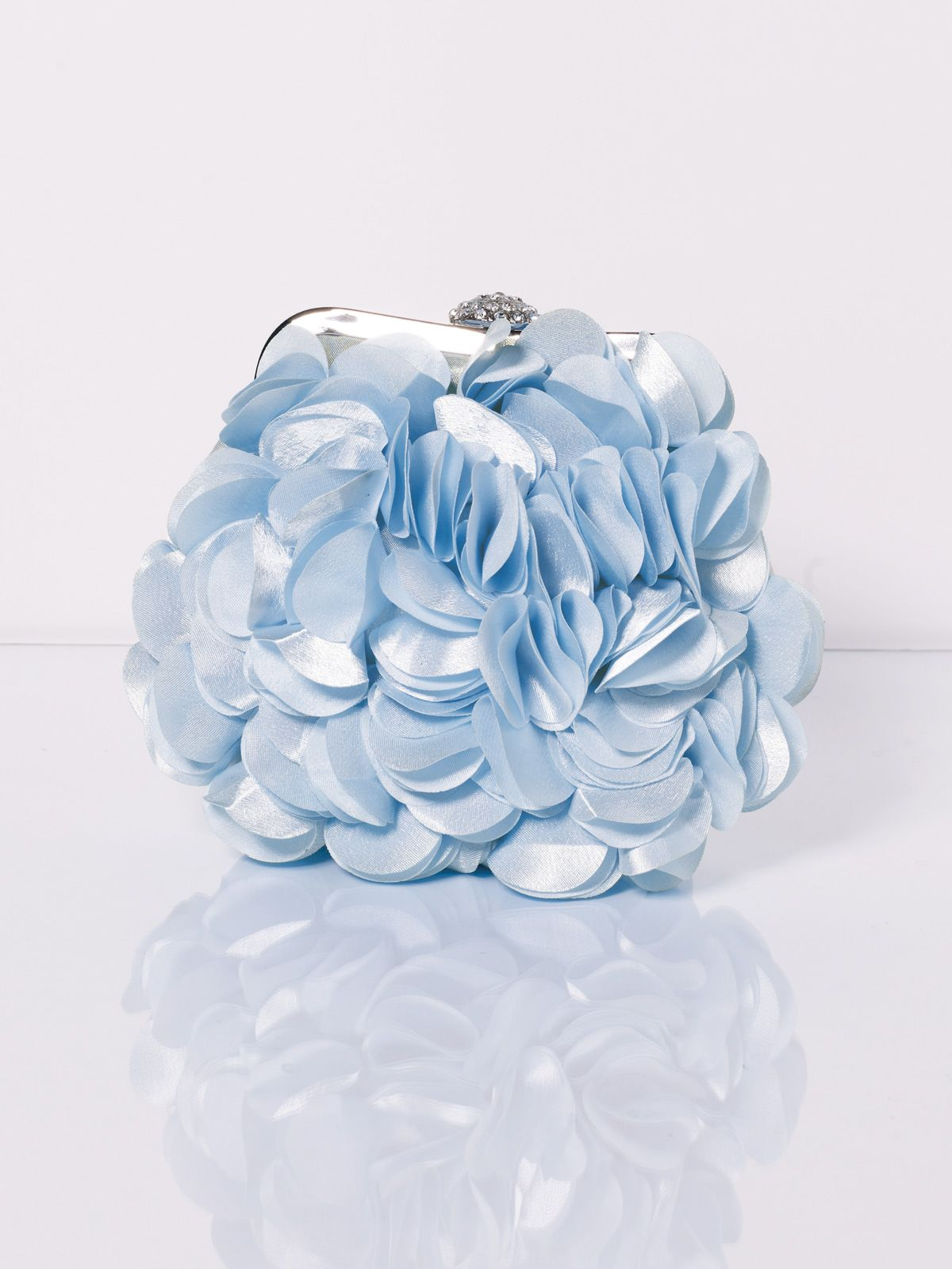 Wedding clutch handbag with allover petal-like accents, tab frame ...