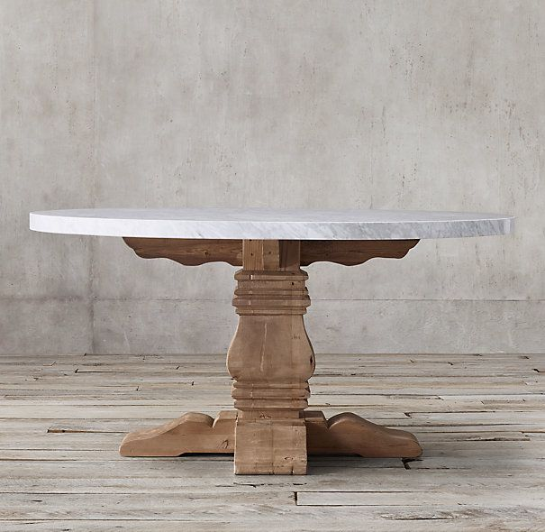 Salvaged Wood Amp Marble Trestle Round Dining Table For