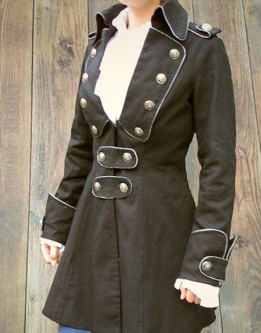 Schwarz Mantel Piratenmantel Gehrock Steampunk Brokade Damen rdBeCox