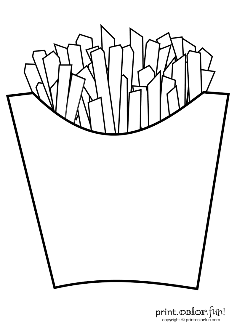 French fries print color fun free printables coloring pages crafts puzzles cards to print