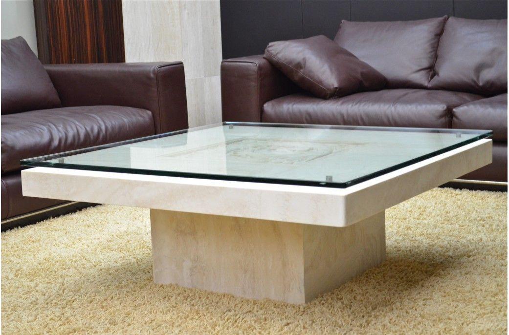 Table basse en marbre travertin Persan ANTICA authentique - Living ...