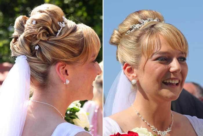 Brautfrisuren Hochgesteckt Mit Diadem Und Schleier Mittellange Haare