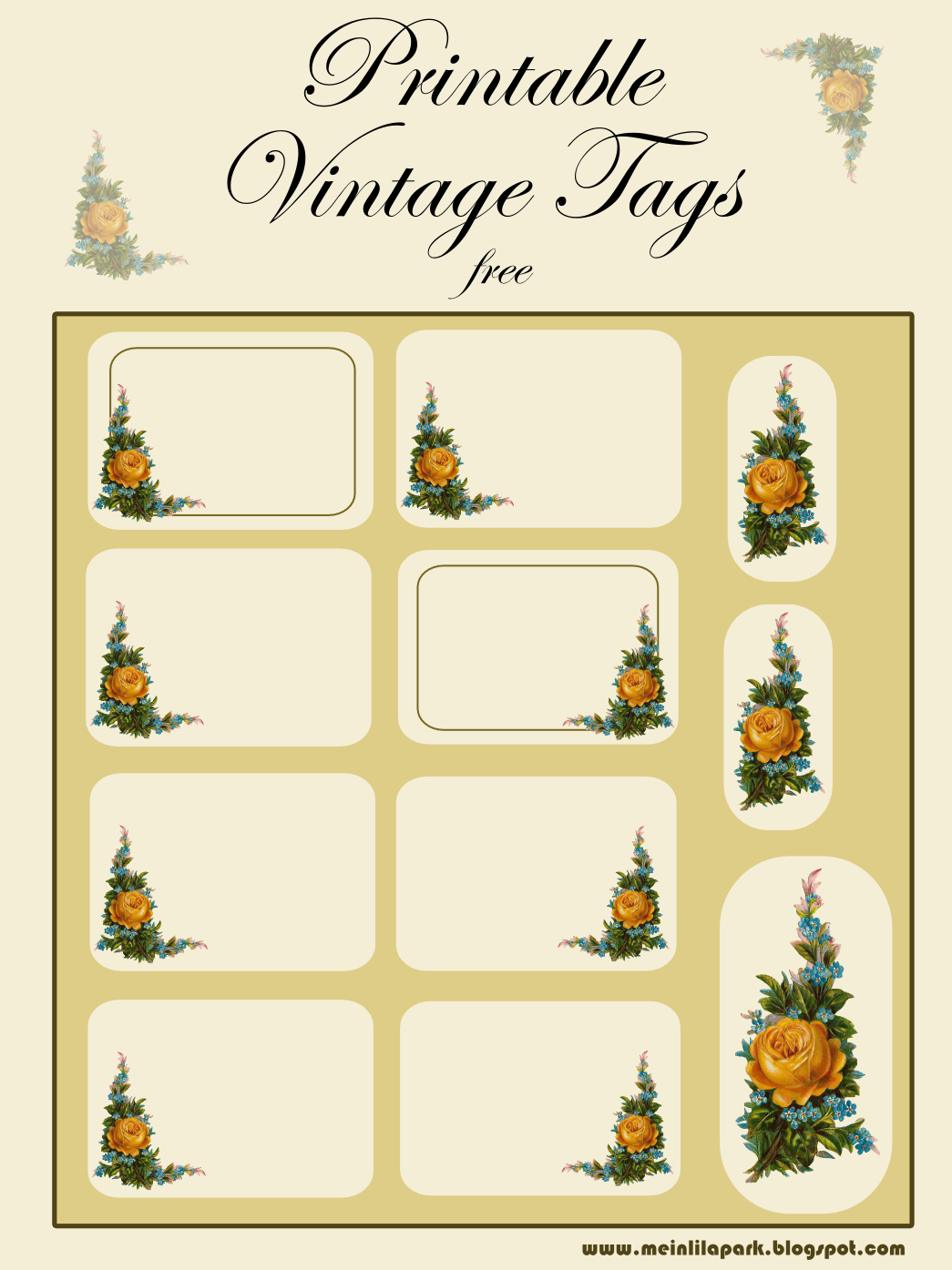 Image detail for -free printable vintage tags: yellow rose and forget-me-not ...