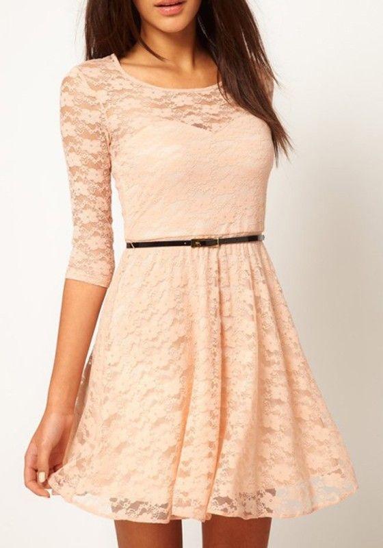 9d5897a32c8 Apricot   Light Peach Pink Belt Collarless Seven s Sleeve Lace Dress ...