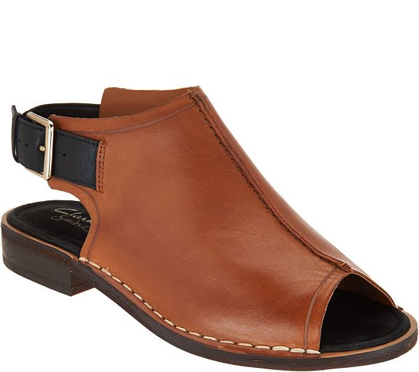 Leather Clarks Toe Sandals Somerset Cabaret Peep Charm As Is OPAf7BW