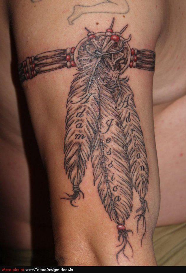 3fe140d72 Native Indian Tattoo On Man Right Bicep #nativeamericanwisdom Indian Tattoo  Design, Feather Tattoo Design