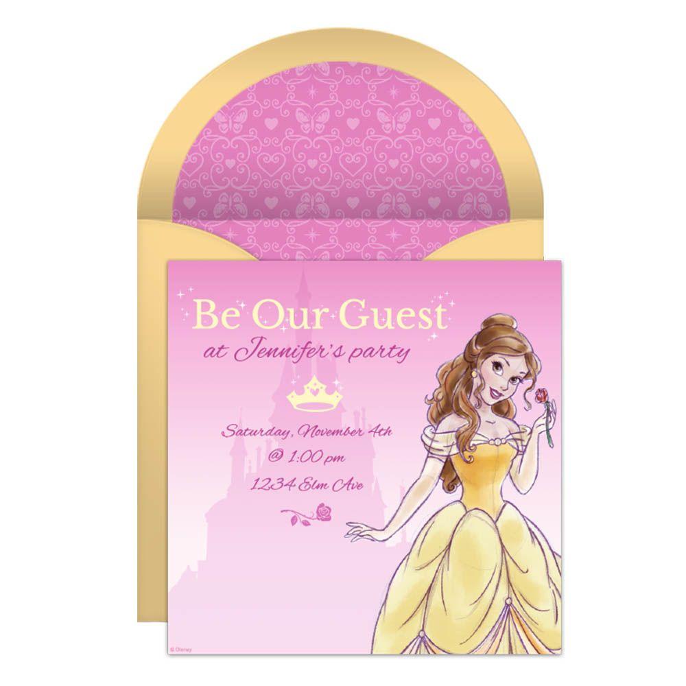 Beauty and the Beast Online Invitation   Birthdays, Princess ...