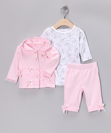 Awww...Pink & White Bow Hooded Jacket Set by Baby Headquarters on #zulily today!great for #Fall Reg $46 now just $12.99 for all three pieces!