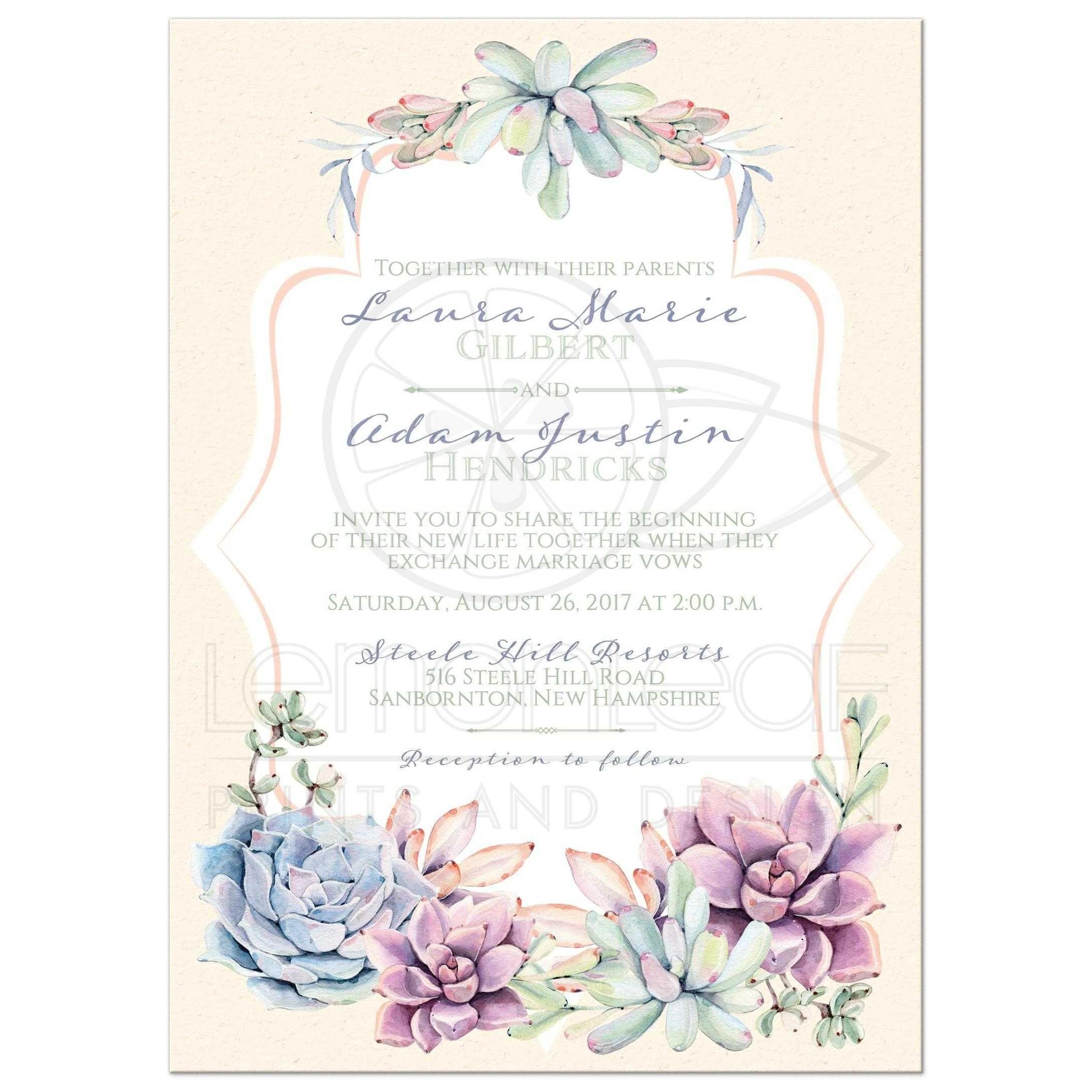 Pastel Wedding Invitation Watercolor Succulents Garden Peach