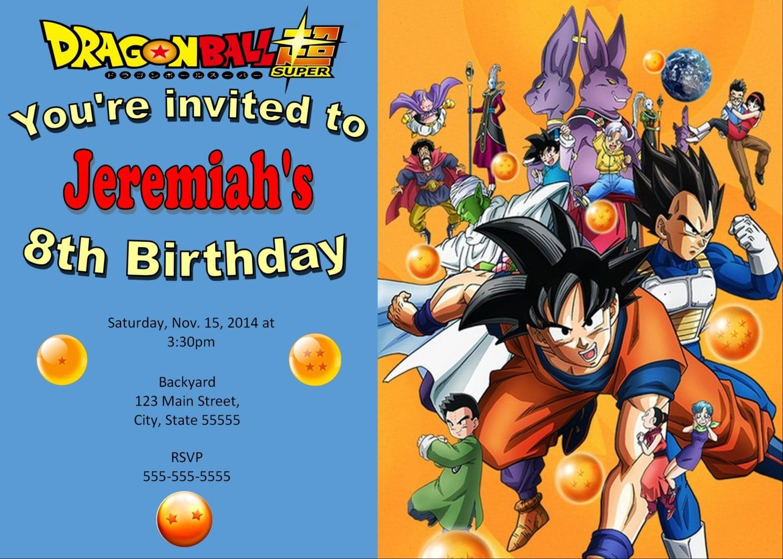 Dragonball Z Invitation Dragonball Birthday E10261624441774813m