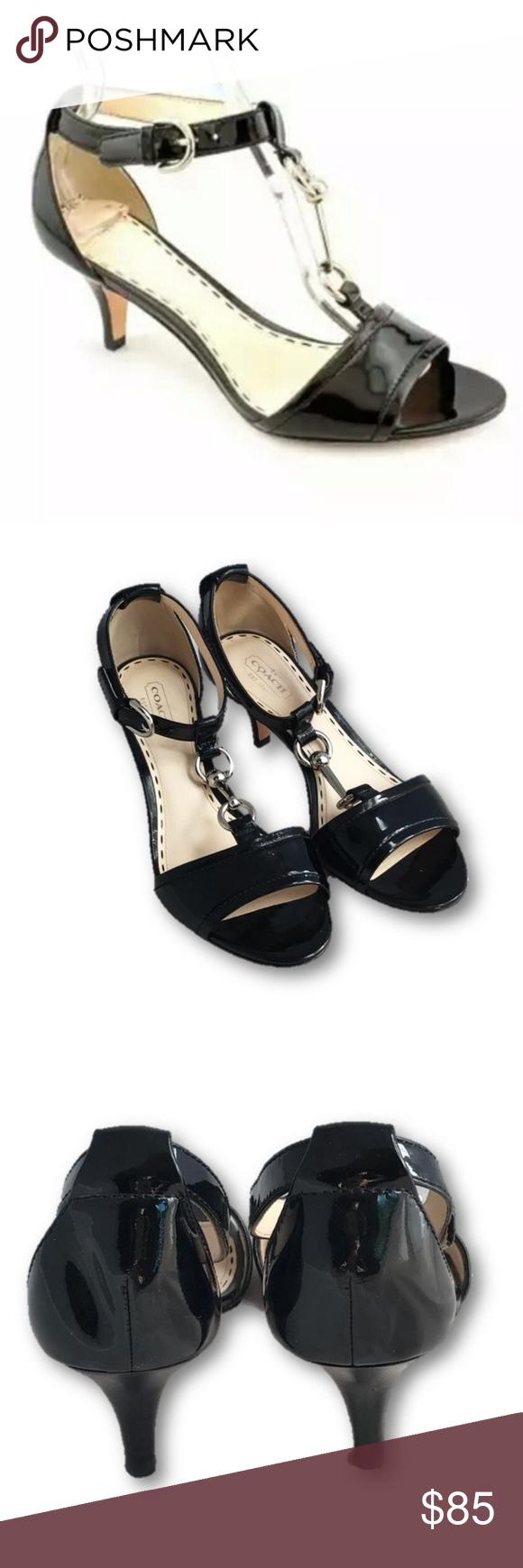54b8dcc2447 Coach Black Patent Leather Inez kitten heel pump featuring peep toe Silver  Hardware Accent. 2.5