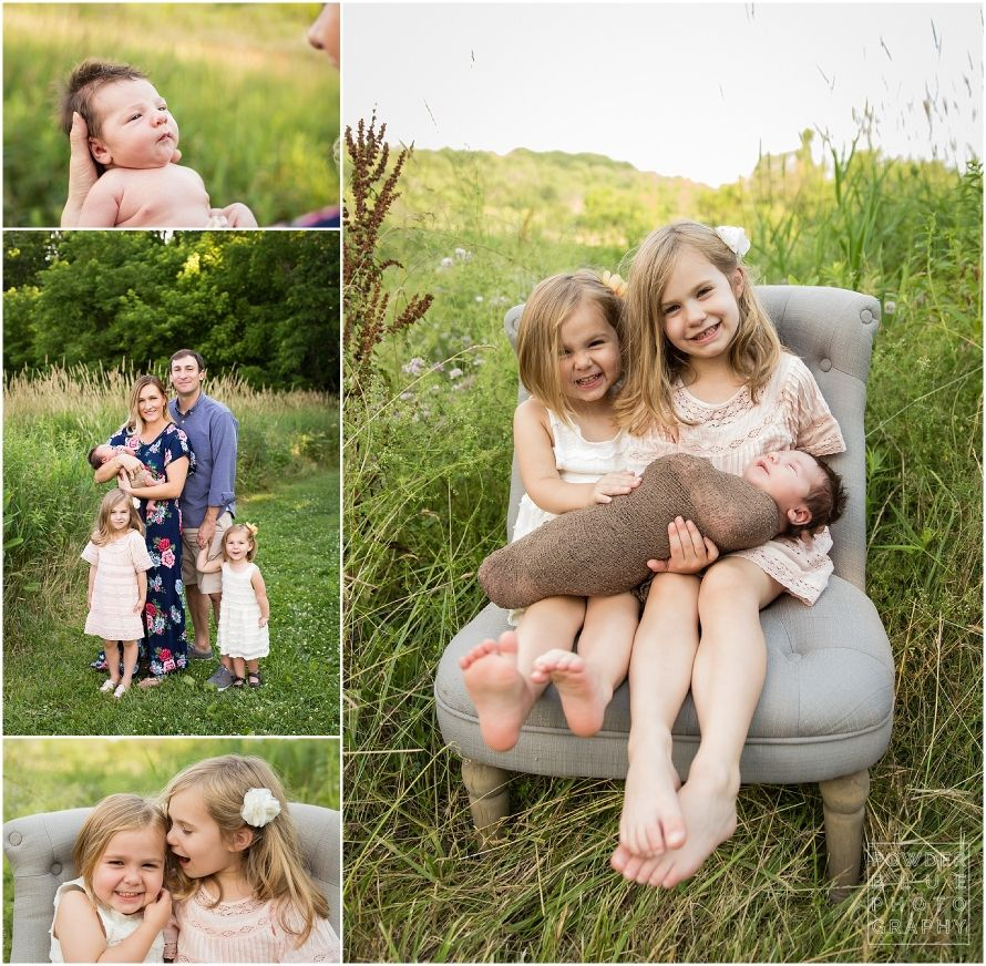 Pittsburgh newborn photographer family session outdoors with newborn baby family of five what