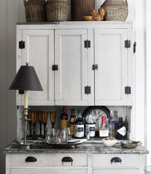 Bar Area  Great Idea For A Hoosier Cupboard  And Not Too Country Cutesey.