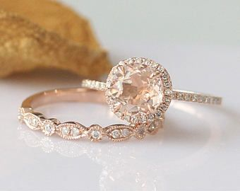 Beau 2PCS!!7mm Round Morganite Ring Set 14k Rose Gold Engagement Ring Morganite  Engagement Ring