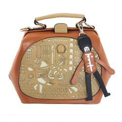 $14.00 Cute Style Women's Shoulder Bag With Openwork and Color Matching Design