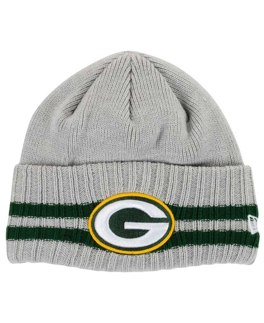New Era Green Bay Packers Striped Cuff Knit Hat