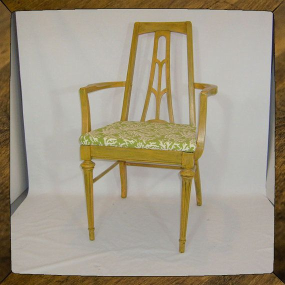 "Vintage Knechtel Arm Chair in Happy Yellow and Lime: ""Bright Coral"" by StephanieJaneUpcycle, $329.00 - refinished and refurbished using eco-friendly products"