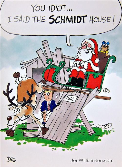 Humorous Christmas Cards.Santa Tarochristmas You Ll Shoot Your Eye Out Funny