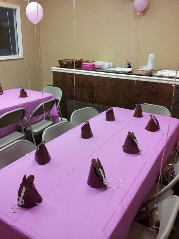 Party room at Kai's Kookies set up for a horse themed party.