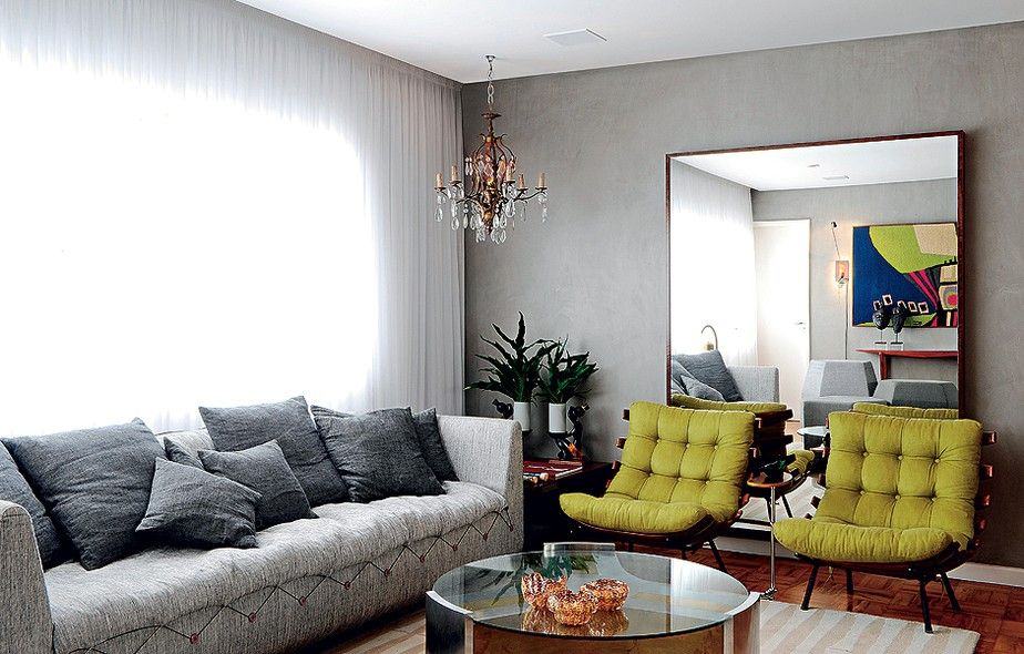 50 salas paredes pintadas de cinza tecido verde e for Paredes de salas modernas