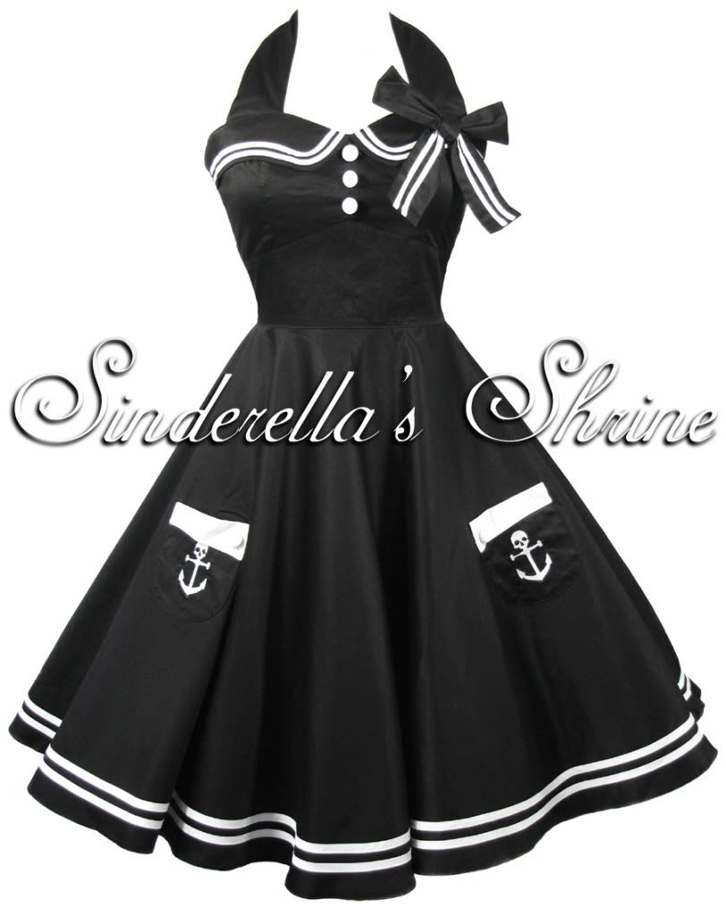 Black hell bunny motley s pinup sailor party dress xsxl