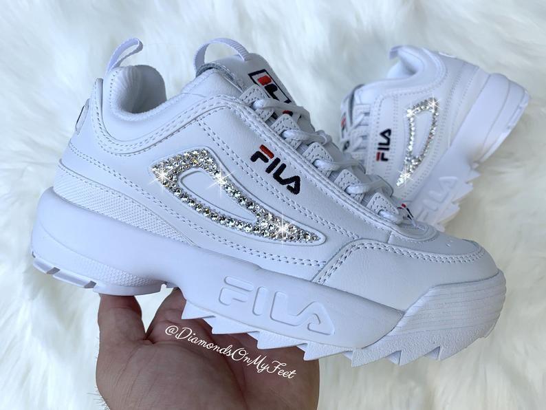 Swarovski Women's Fila Disruptor 2 Premium White Sneakers