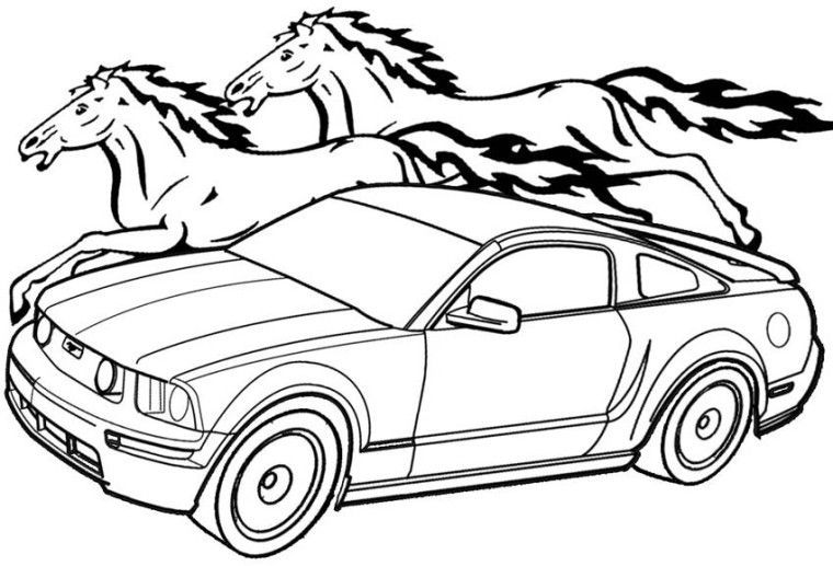 Mustang And Horse Coloring Pages Horse Coloring Pages Cars