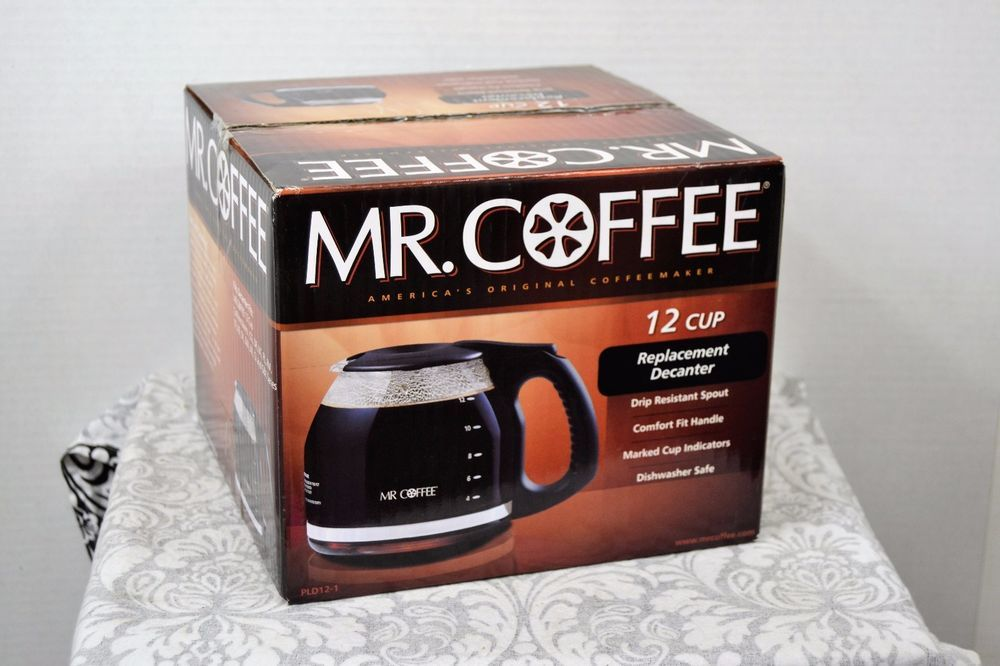 Mr Coffee PLD12 1 Replacement Glass Carafe Decanter Black 12 Cup
