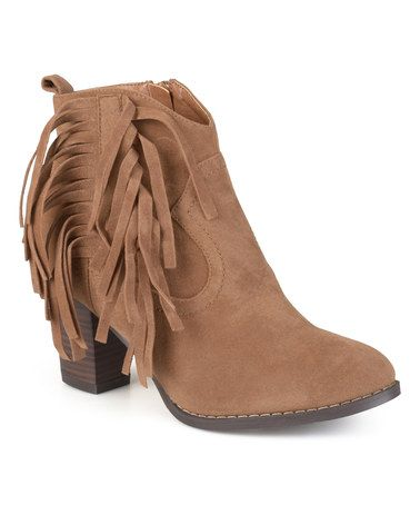 e8eb11e0bda9 Loving this Taupe Fringe Spin Bootie on  zulily!  zulilyfinds ...