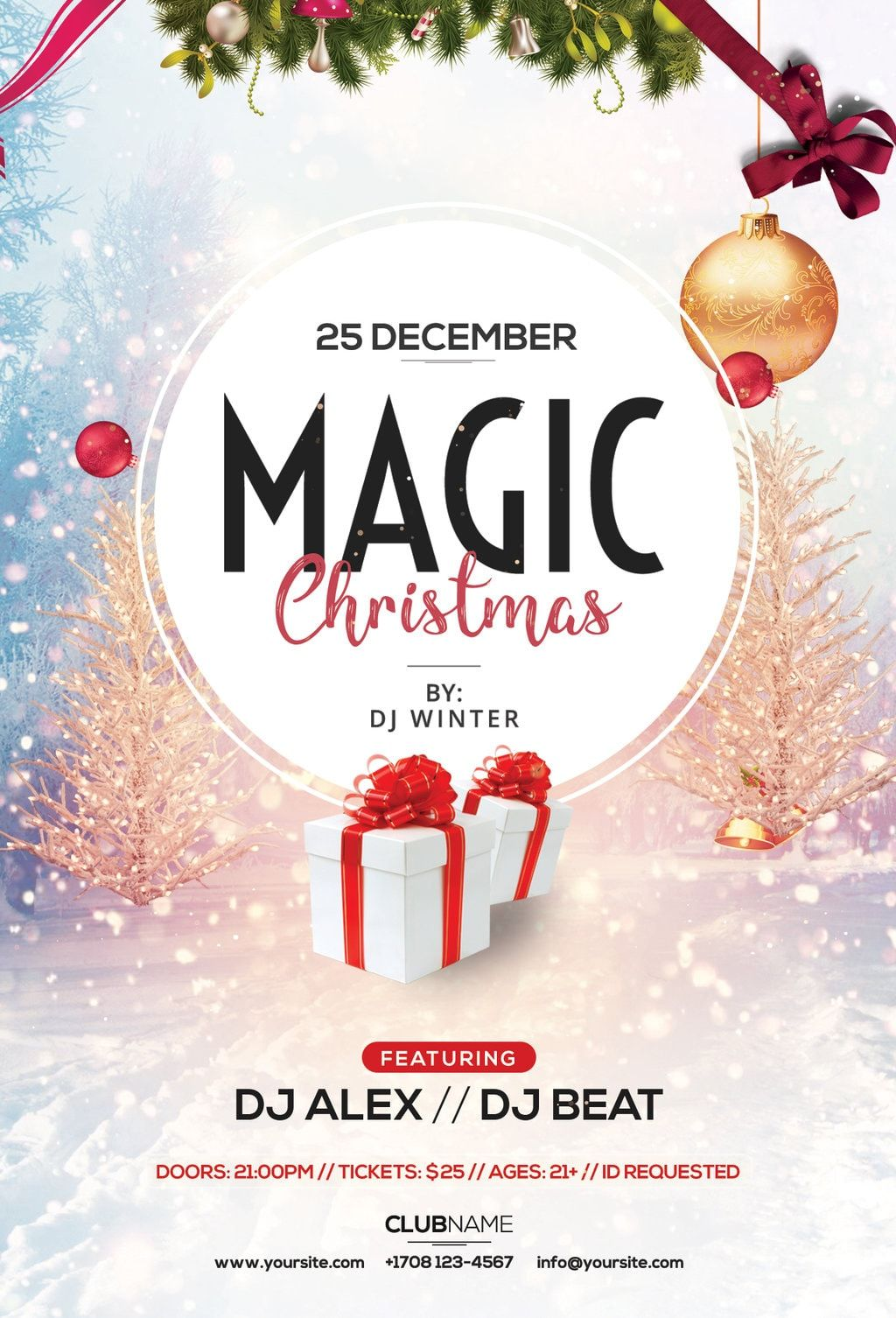 Magic Christmas Free Psd Flyer Template Holiday Flyer Template
