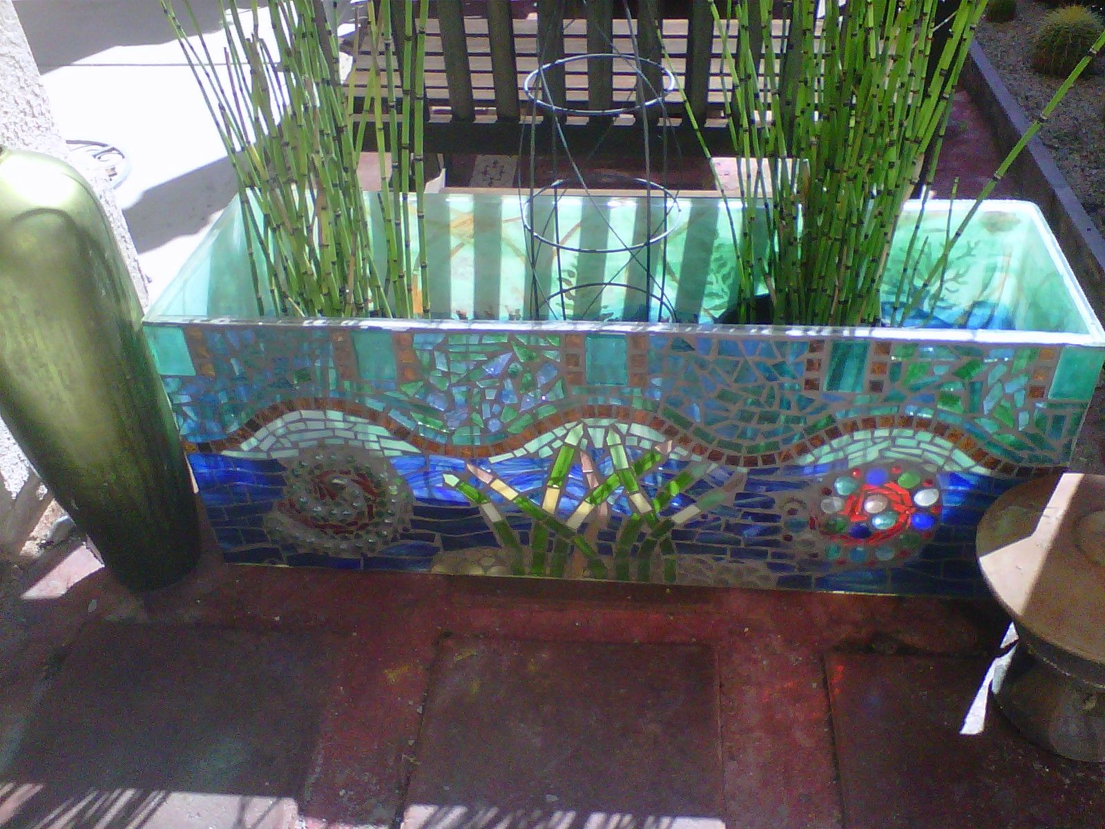 Salvaged Plexiglass Fish Aquarium With Mosaic Repurposed