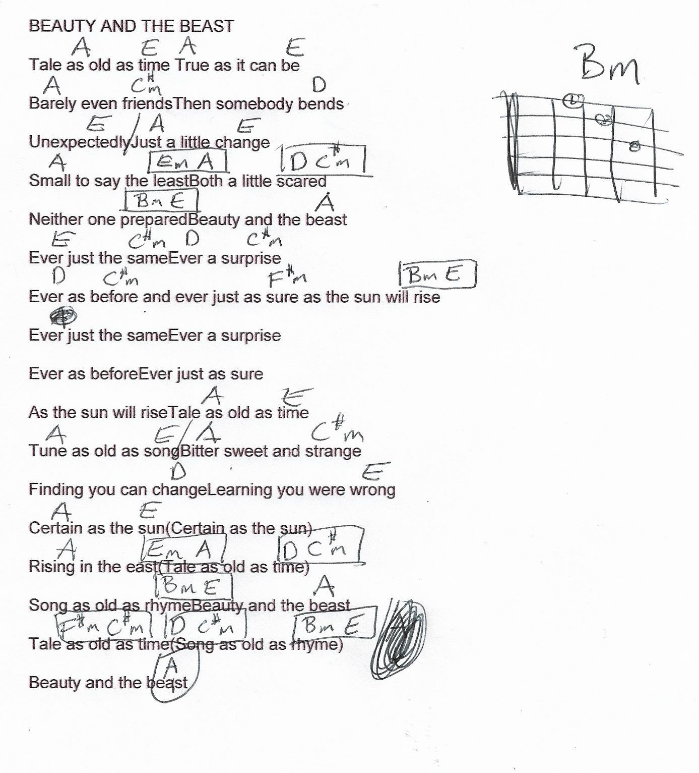 beauty and the beast chords # 1