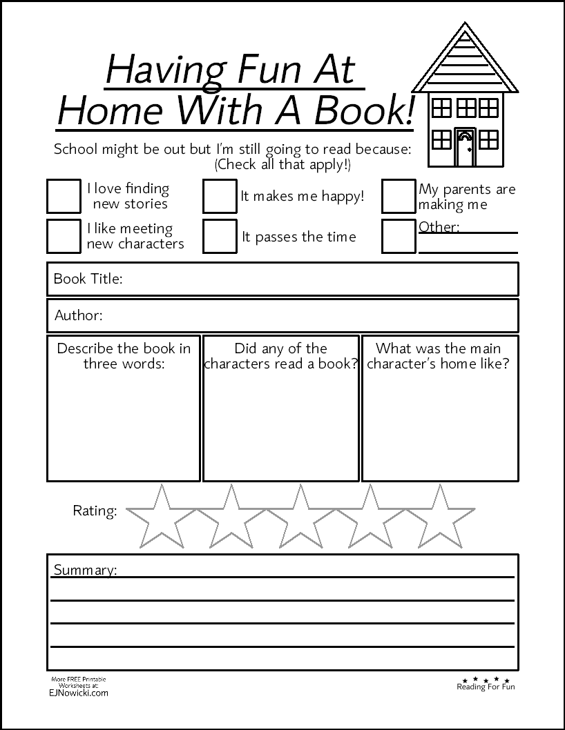 Book Activity Having Fun At Home With A Book Fun Worksheets Book Activities Printable Books [ 1058 x 818 Pixel ]