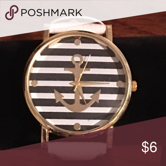 Anchor Watch White Leather Watch Strap With Gold Anchor On Face