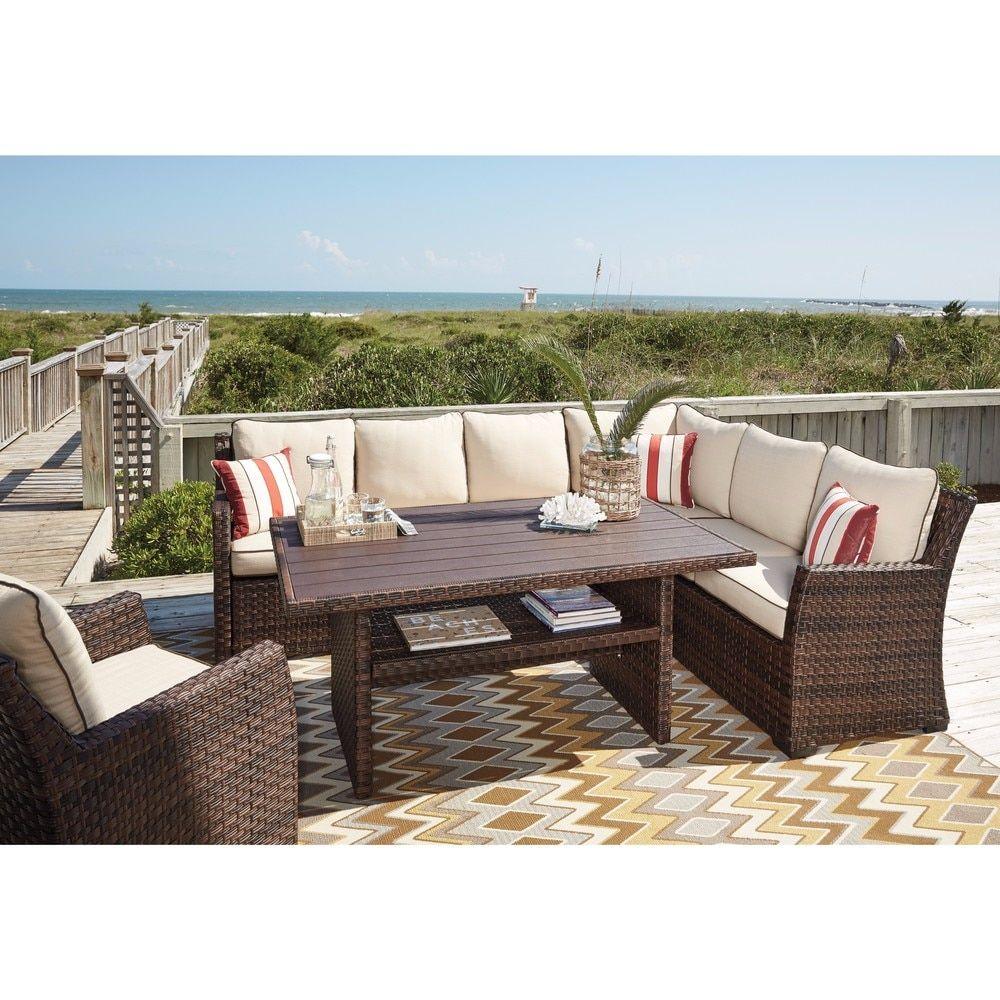 Signature Design Ashley Salceda Brown Outdoor Sofa Set