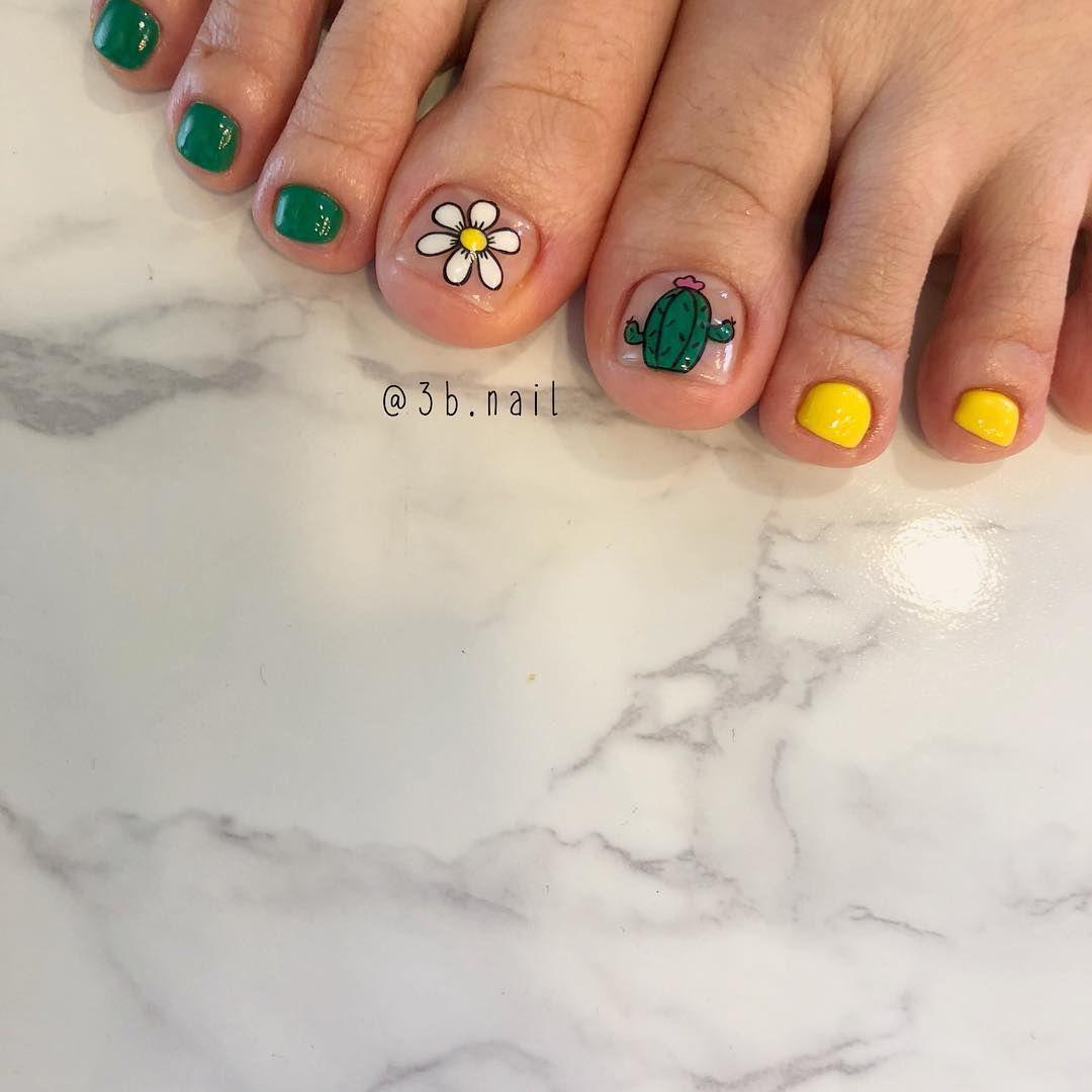 Korean Nail Art Cactus Nails Pedicure Cartoon I Akiwarinda Korean Nails Korean Nail Art Nails